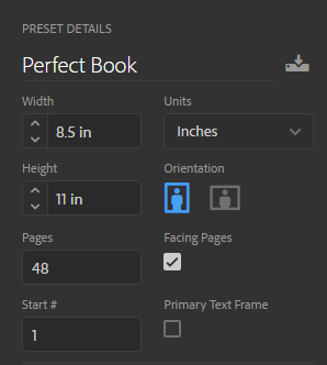 Adobe InDesign Document Options